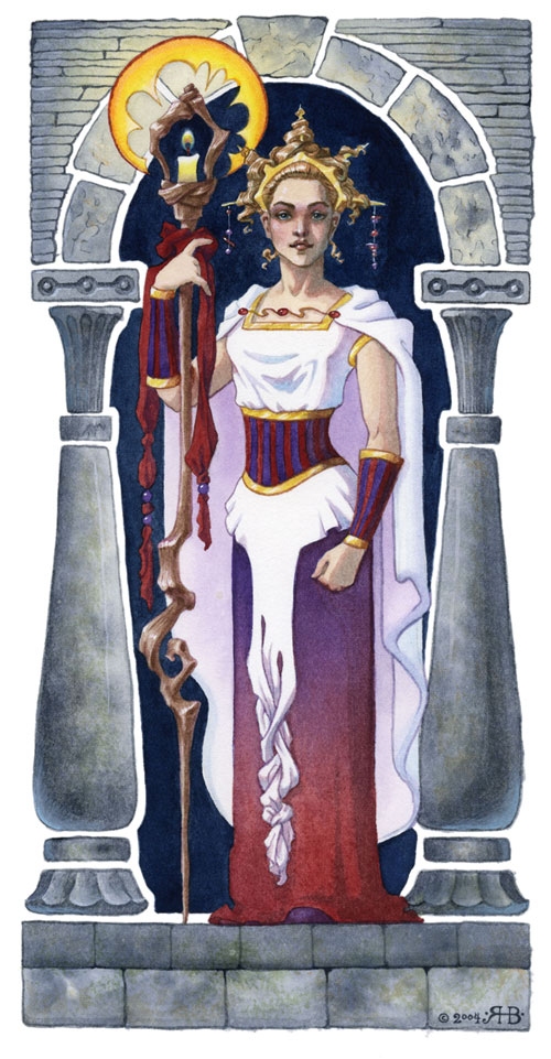 Watercolor Painting of a noble looking woman with a staff